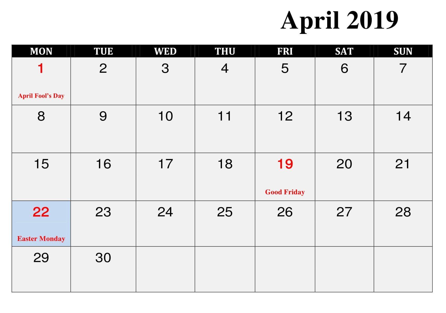 Blank April Calendar With Holidays