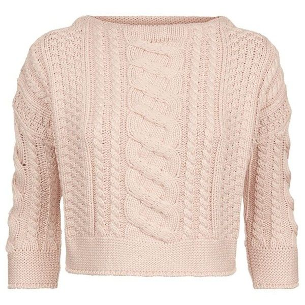 MaxMara Weekend Rana Cropped Cable Knit Sweater ($280) ❤ liked on ...