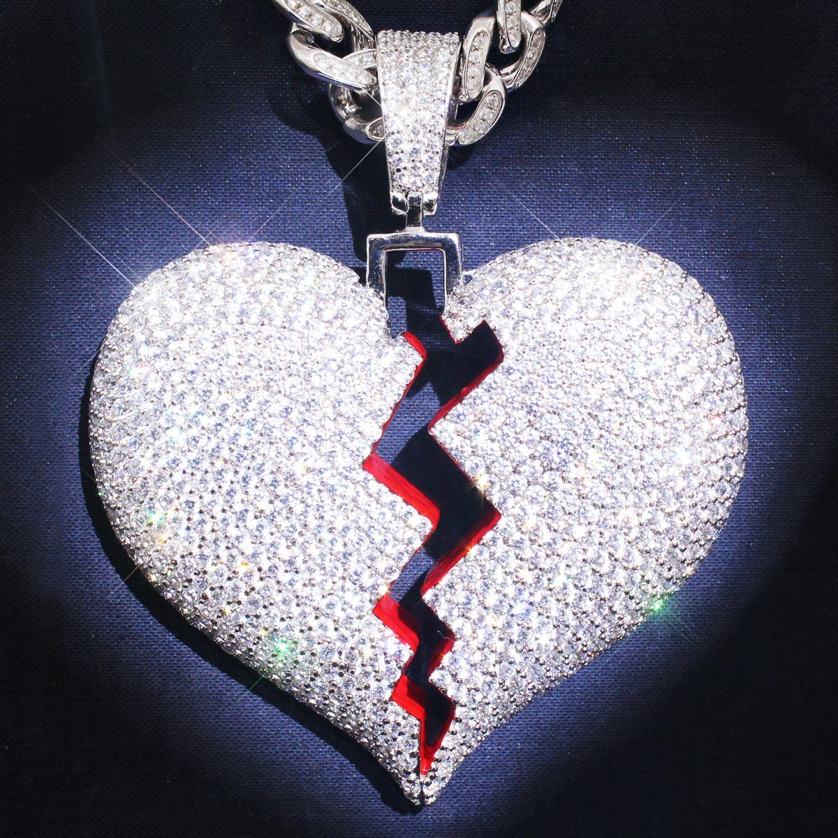 cefa421b70dc1 Sterling Silver Broken Heart Custom Iced Out Pendant Only in 2019 ...