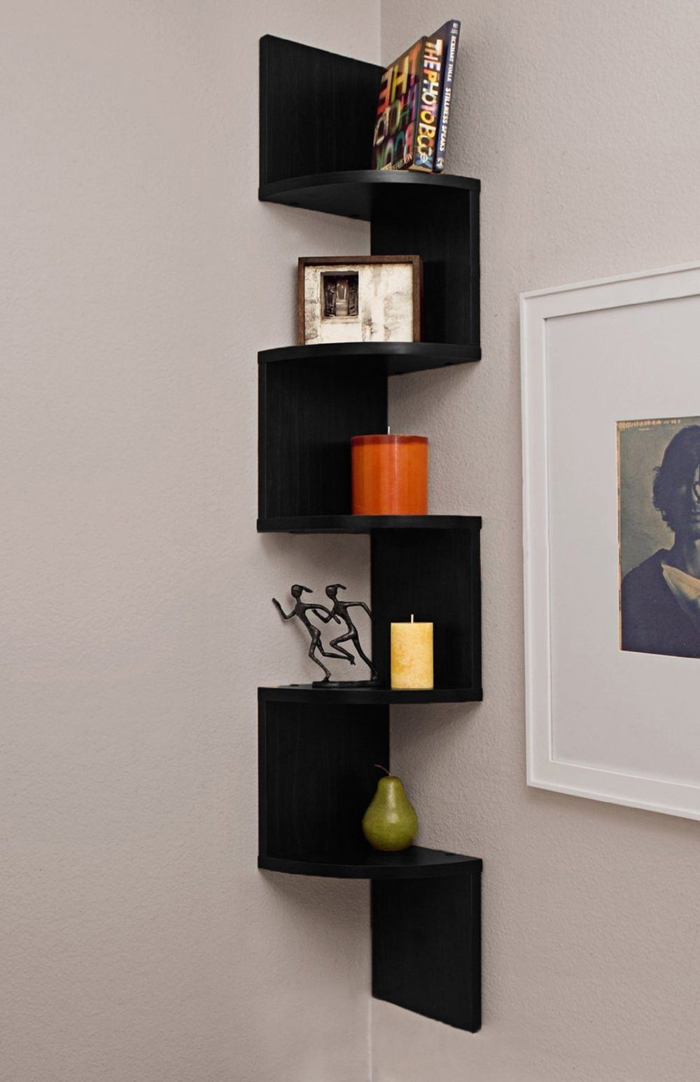 bookshelf pin pinterest black shelves floating corner
