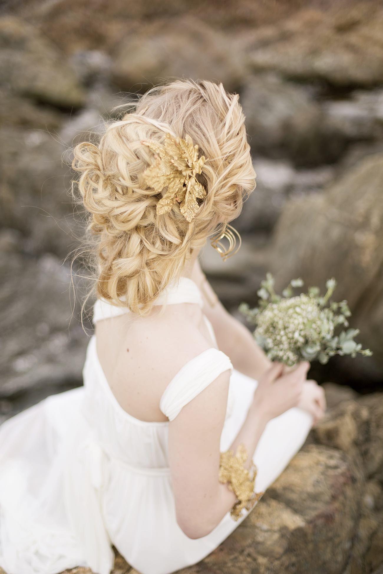 Wedding beach hair  Royal Blue Gold  White GrecianInspired Wedding Ideas Sonje
