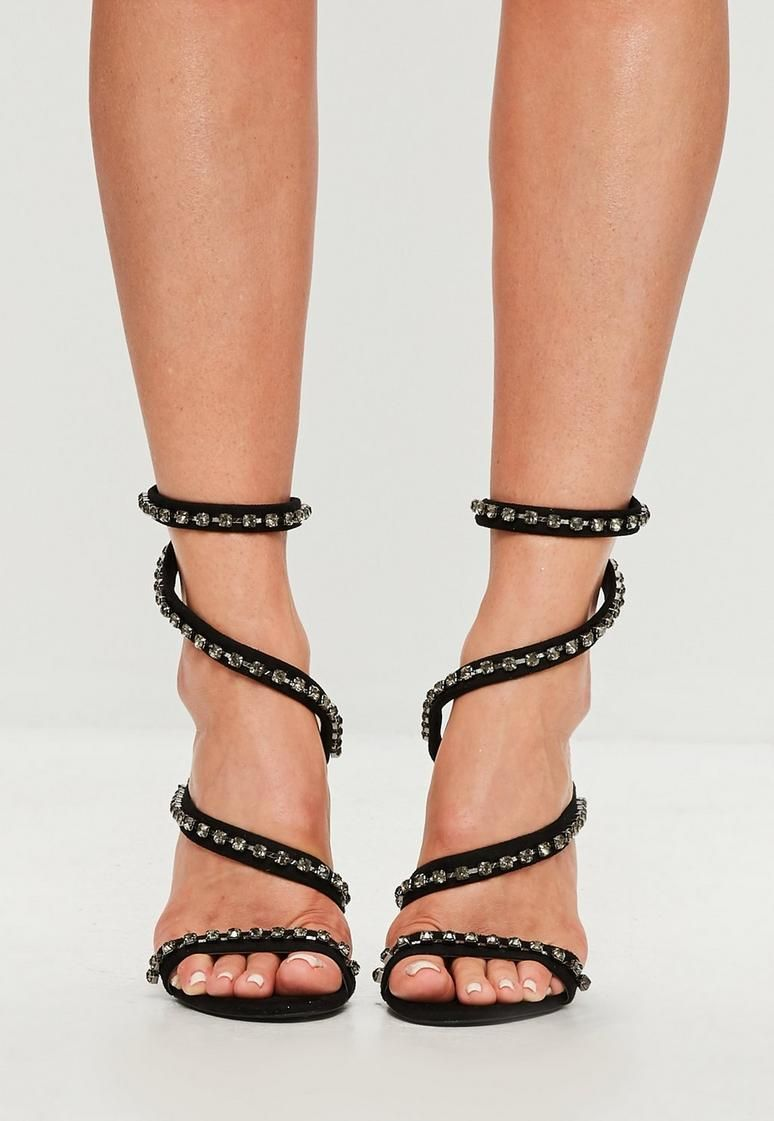 newest fashion styles on wholesale Carli Bybel x Missguided Black Jewel Wrap Around Heeled Sandals ...