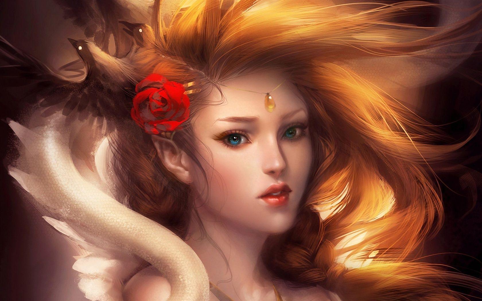 Kunst Gemalde Schone Blonde Madchen Rosen Haar Accessoires Hintergrundbilder 1680x1050 Hintergrundbilder Downlo Fantasie Frauen Fantasy Girl Blonde Madchen