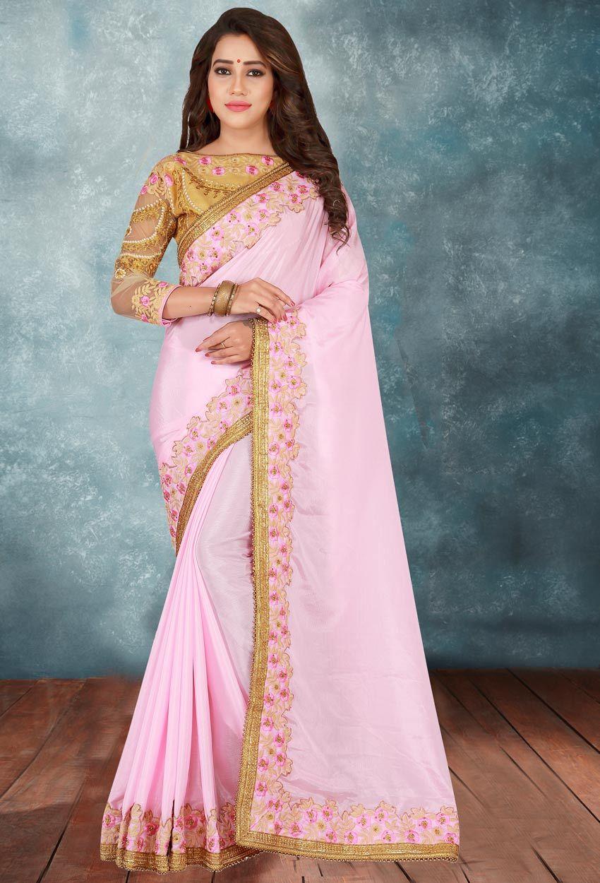 836fe5563c Light Pink Chiffon,Silk Designer Saree #chiffonsarees #sareesonline  #onlinesaree #dress #onlineindiandress #sale#nikvik #freeshipping #usa  #australia ...