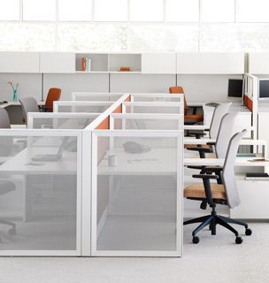 Open weave fabric screens give visual lightness division for Redesign your office
