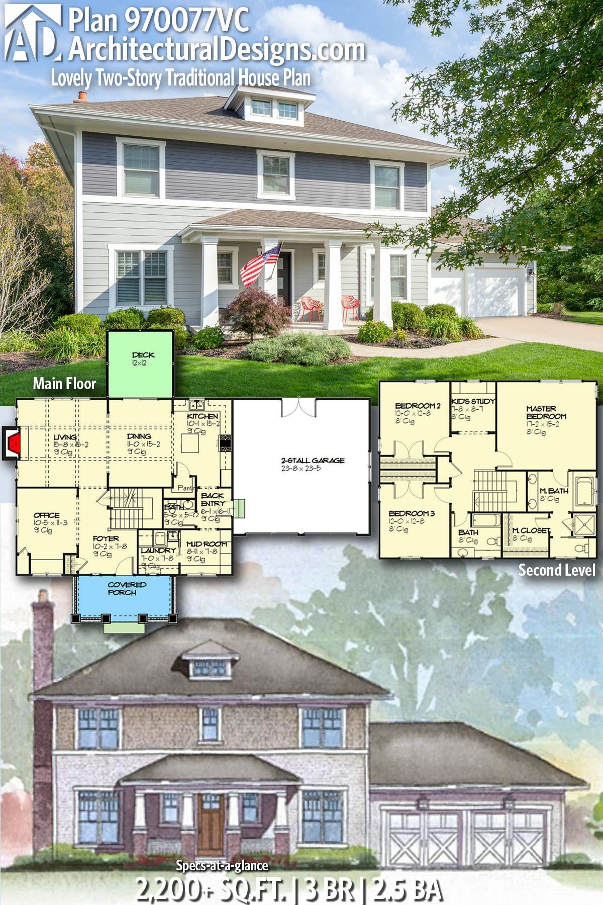 Plan 970077VC Lovely TwoStory Traditional House Plan