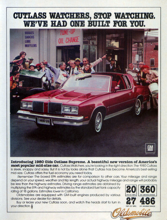 1980 Oldsmobile Cutlass Supreme Oldsmobile Cutlass Supreme Oldsmobile Automobile Advertising