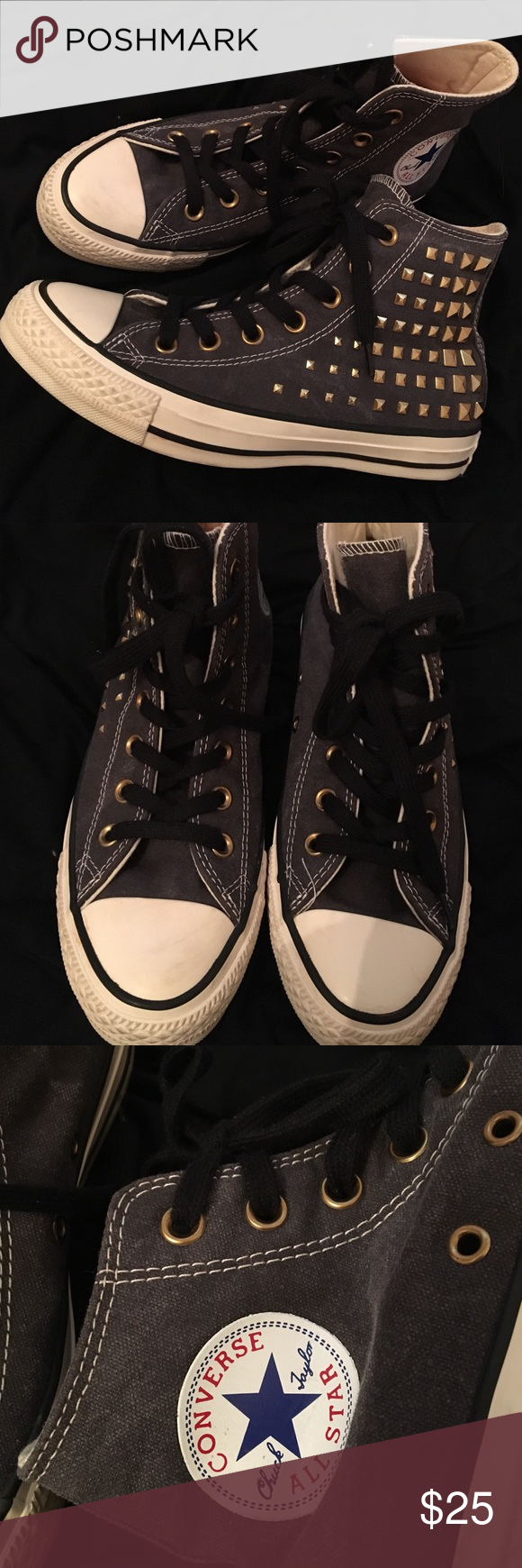 317d67c7a5f2 Studded Charcoal Grey High-Top Converse Excellent condition. Only worn once  or twice. Charcoal grey high-tops with gold studs on the sides.