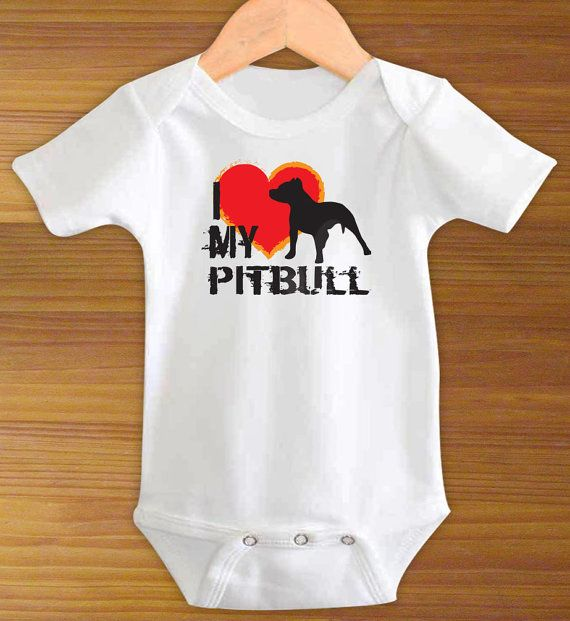 I Love My Pitbull Dog Funny One Piece Bodysuit Shirt