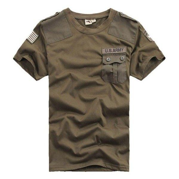 Mens Military Army Denim T Shirt Retro Polo Neck Short Sleeve T-Shirt Top Tee