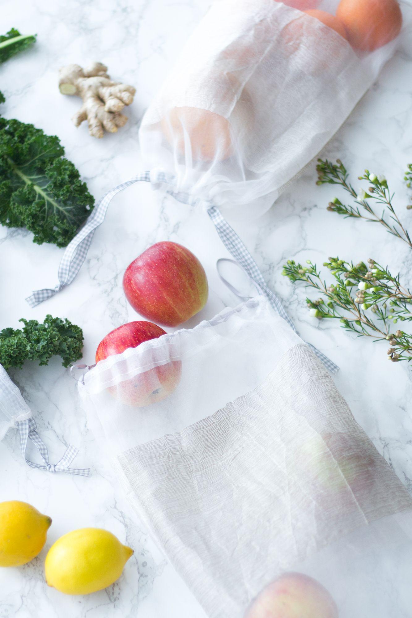 Photo of Nähtaschen für Obst und Gemüse – Upcycling aus alten Vorhängen