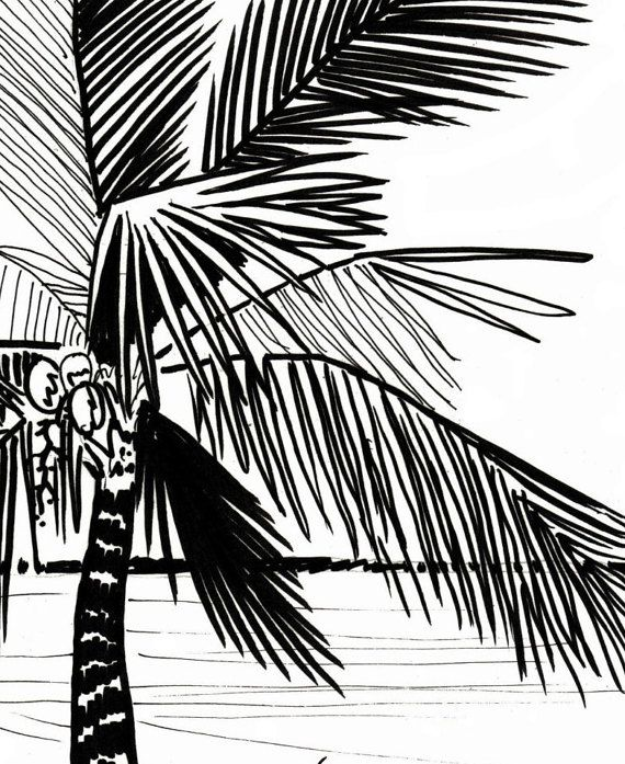 Palm Tree Coloring Page Embroidery Pattern Digital Download