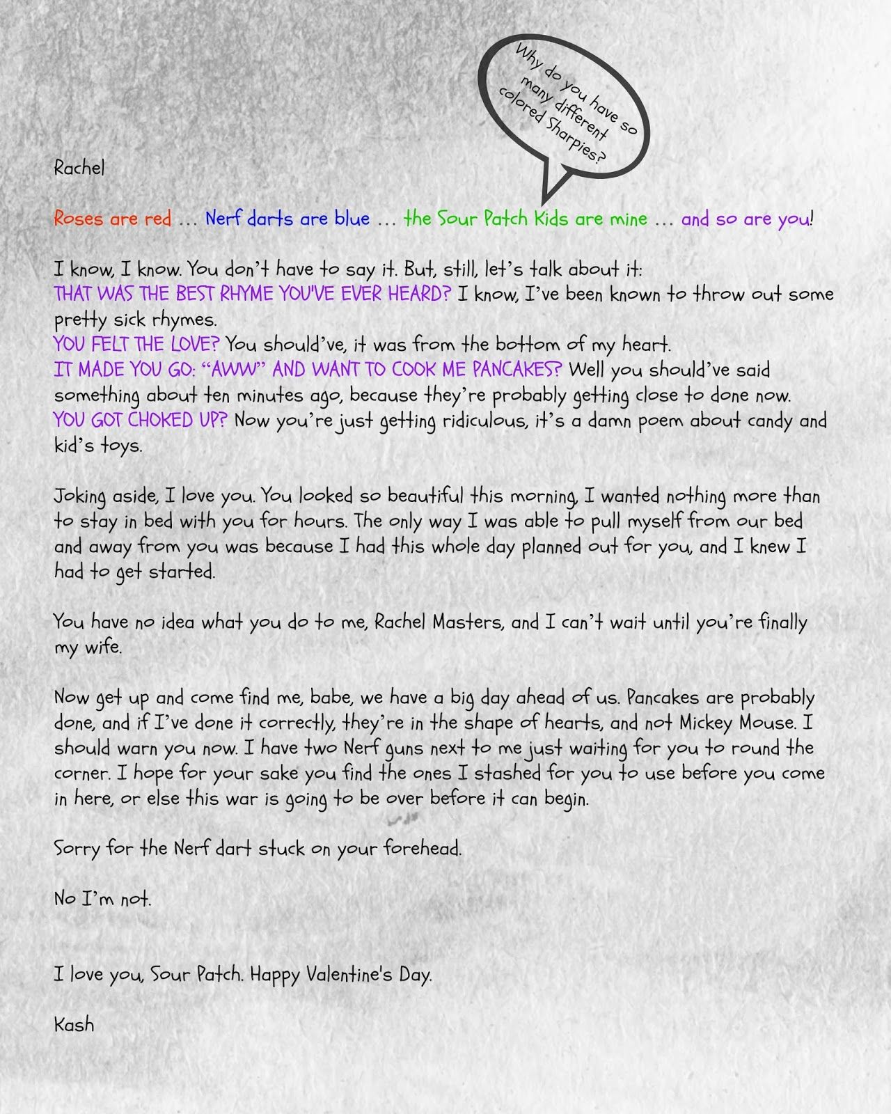 Valentines Day letter from Kash to Rachel characters from Molly
