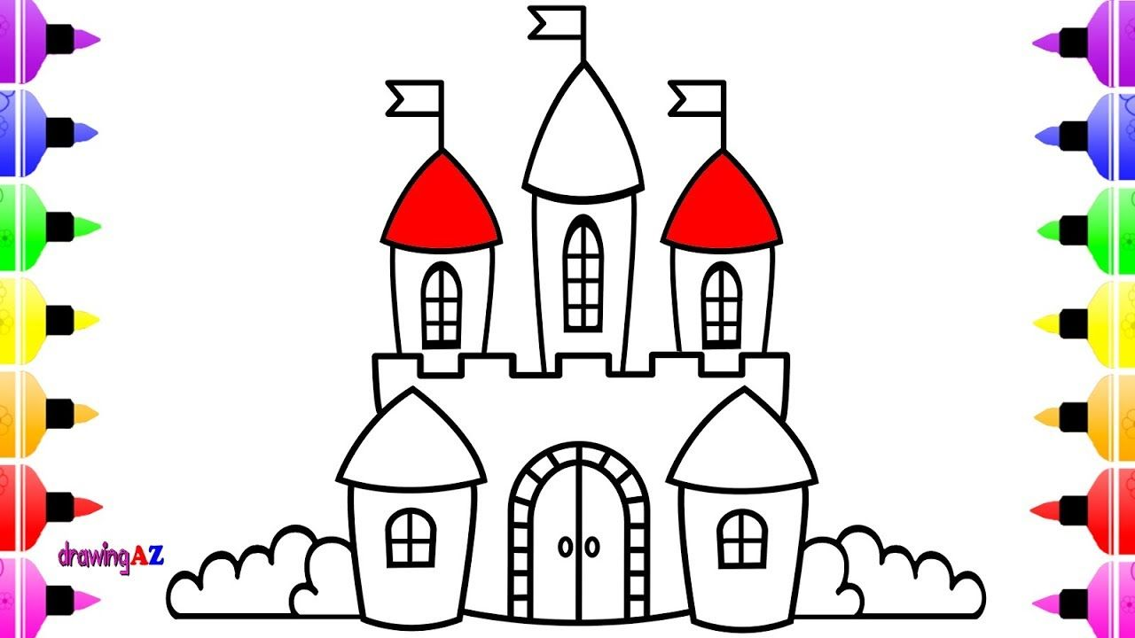 Castle Drawing and Coloring Book for Kids Art Castle Coloring Page ...