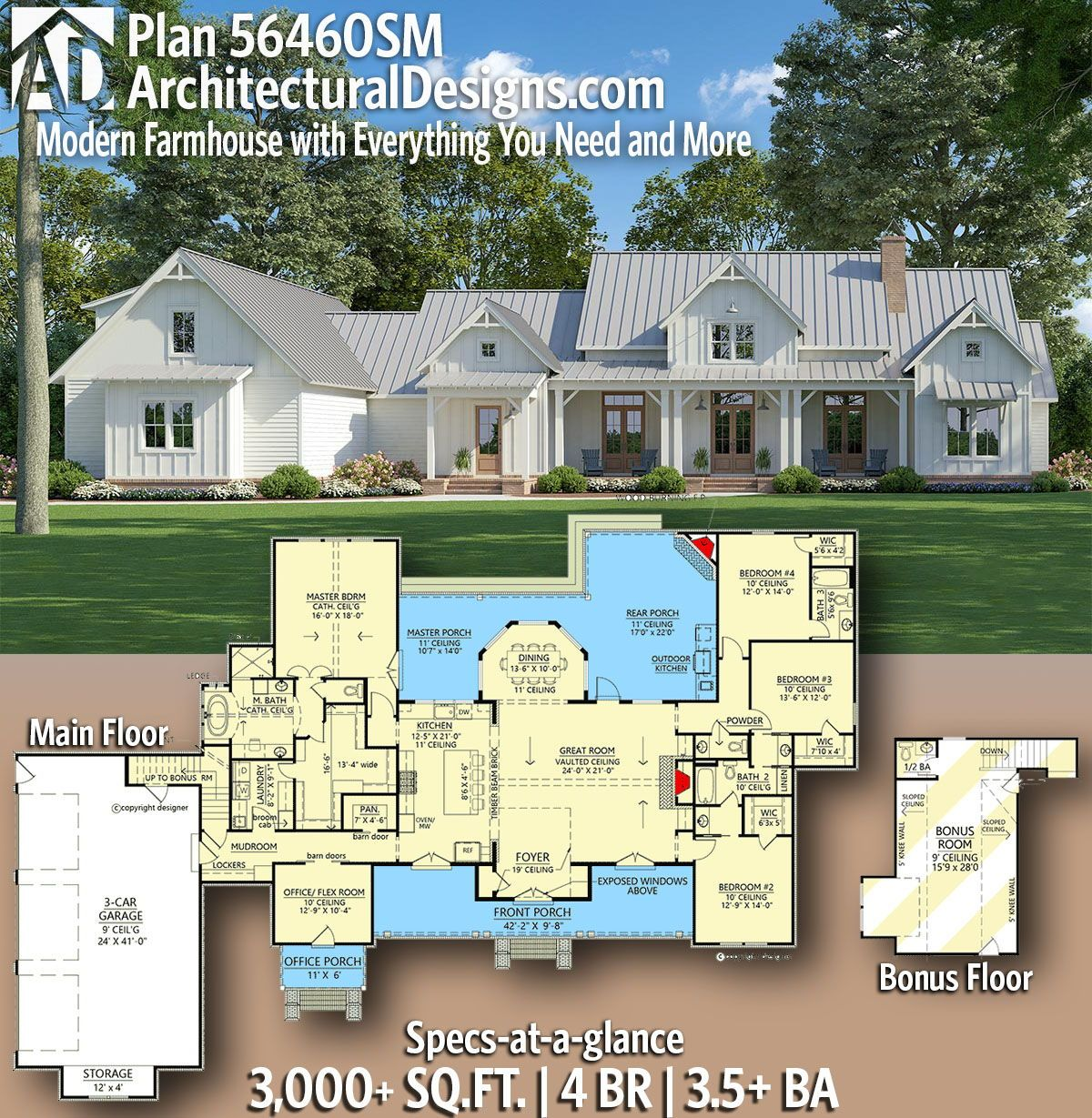 Plan 56460sm Modern Farmhouse With Everything You Need And More In 2020 Farmhouse Floor Plans House Plans Farmhouse Ranch House Plans