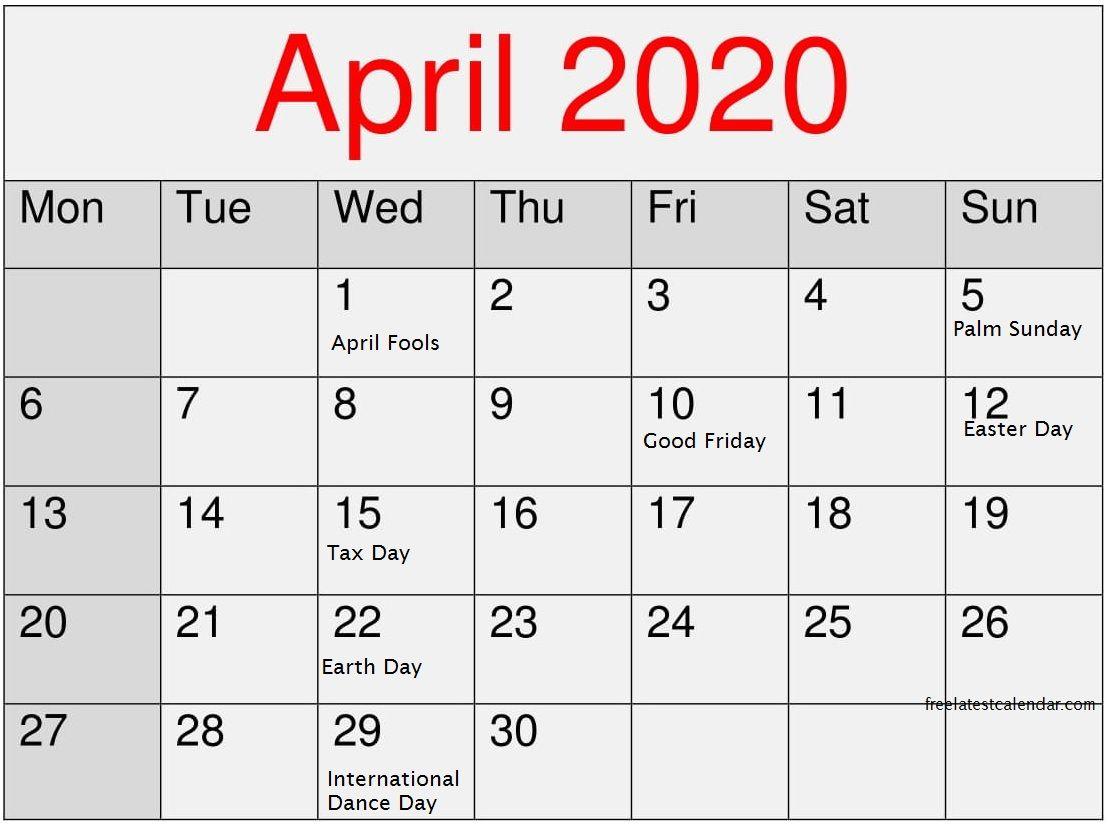 April 2020 Calendar With National Holidays Monthly Calendar