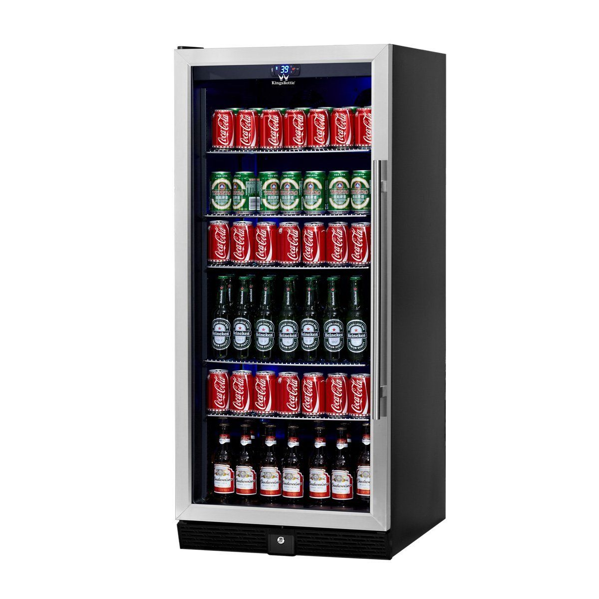 Kingsbottle 300 Can Beverage Cooler Stainless Steel With Glass