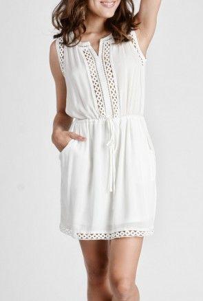 Vestido Casual Blanco Algodón Ropa Modelos De Vestidos
