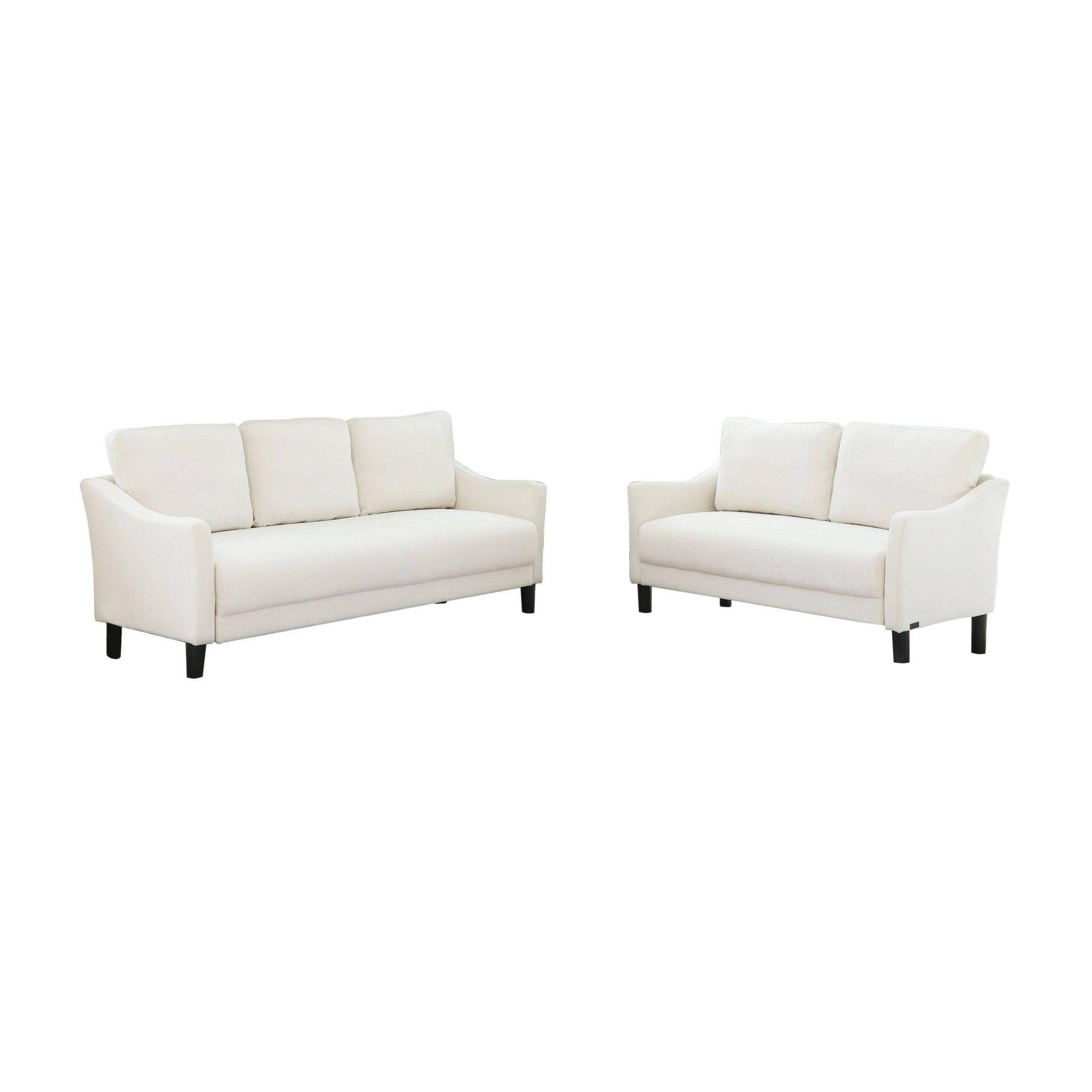 2pc Cleo Fabric Sofa Loveseat Set Ivory Abbyson Living Fabric Sofa Love Seat Sofa Loveseat Set