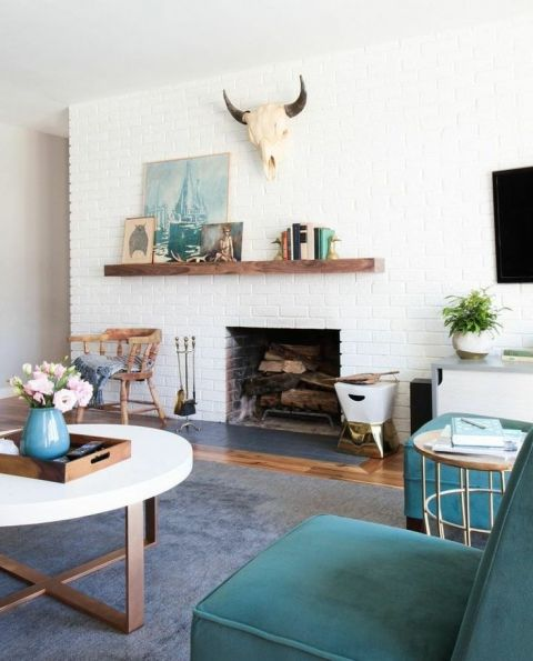 Asymmetrical Fireplace And Mantel Ideas Brick Fireplace Makeover