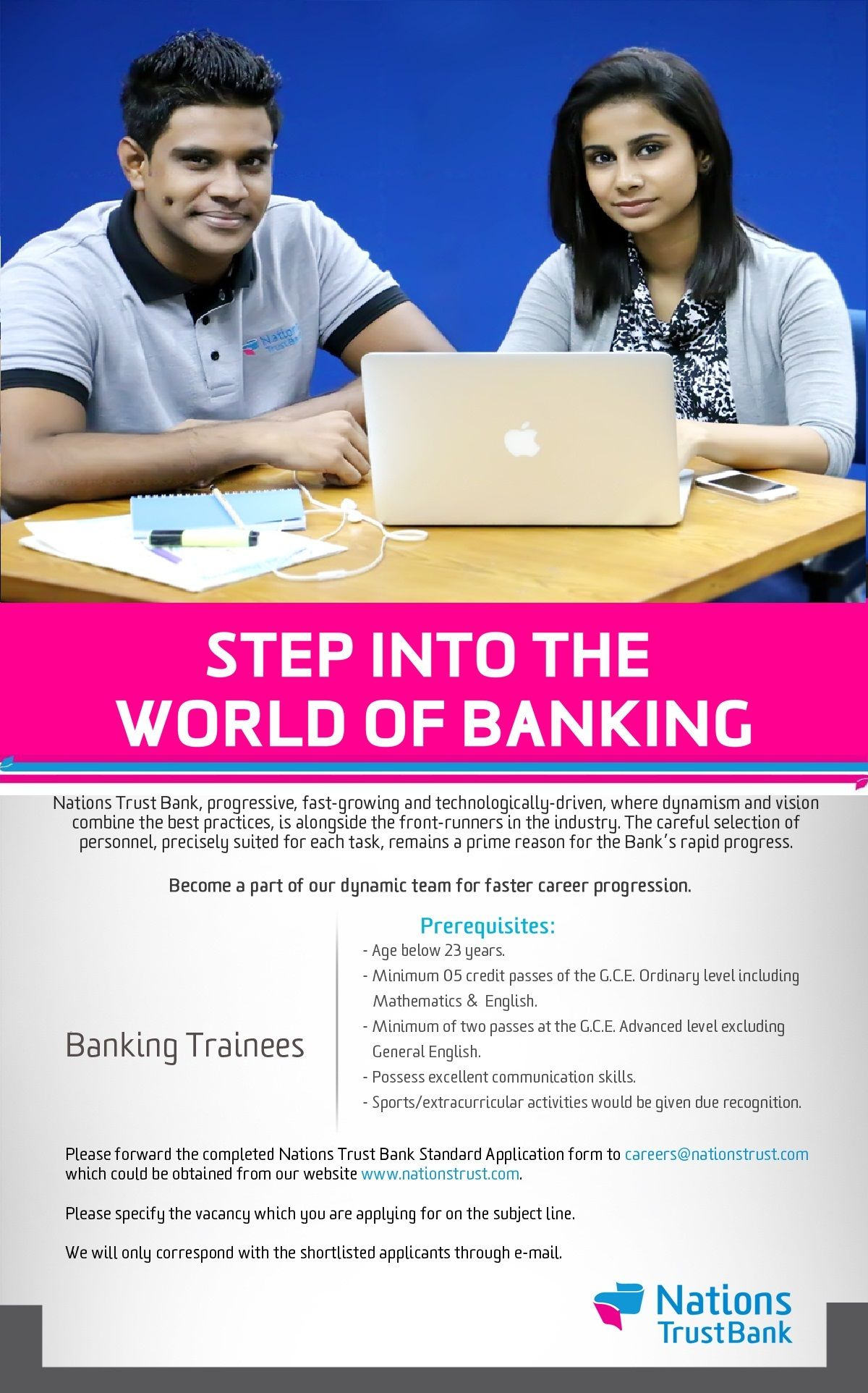 Trainee Banking Assistants at Nations Trust Bank PLC
