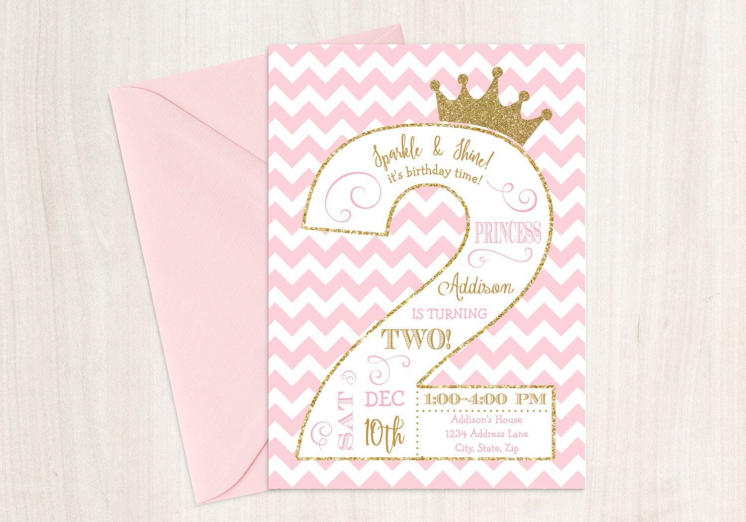 Princess Birthday Invitation 2nd Pink And Gold Party By PixiPrintables