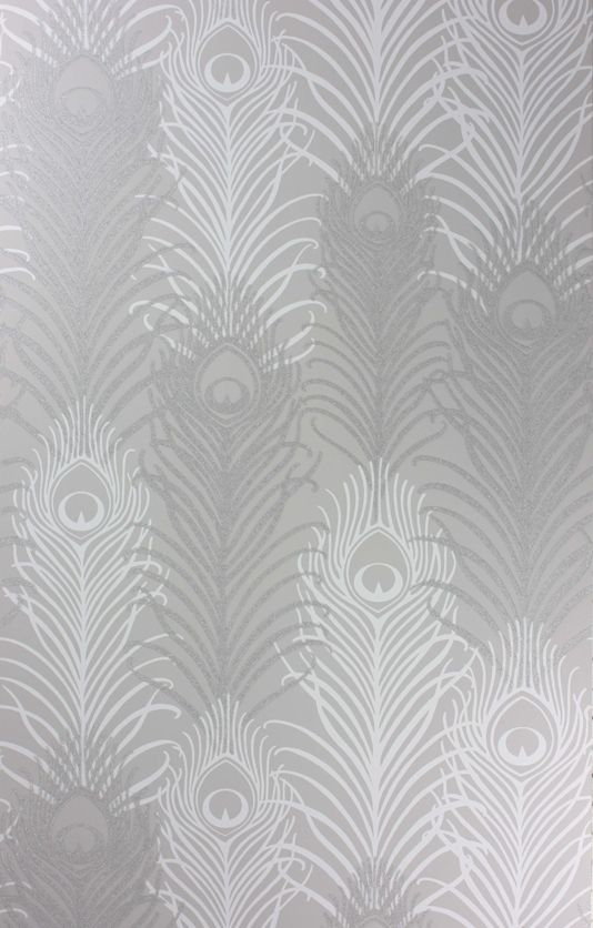 Peacock Wallpaper A Signature Design By Matthew Williamson Featuring Feathers In Silver And White With Tiny Reflective Beads On Stone