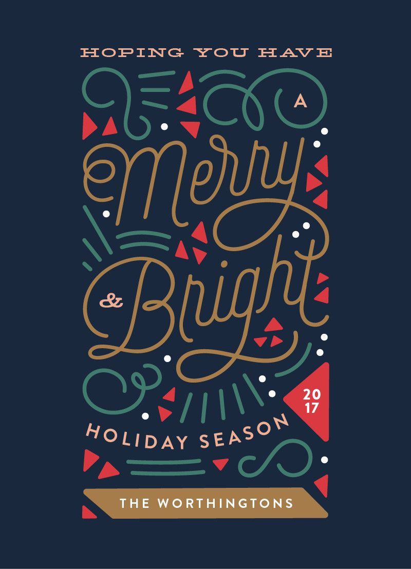 """modern geometric nonphoto holiday card design """"merry"""