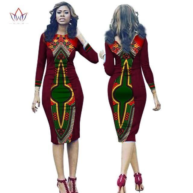 e2d6f4e9db2 2017 BRW African Women Clothing Newest Dashiki Fashion Bodycon Dress of  Summer Succinct Traditional Print V Neck For Lady WY1675