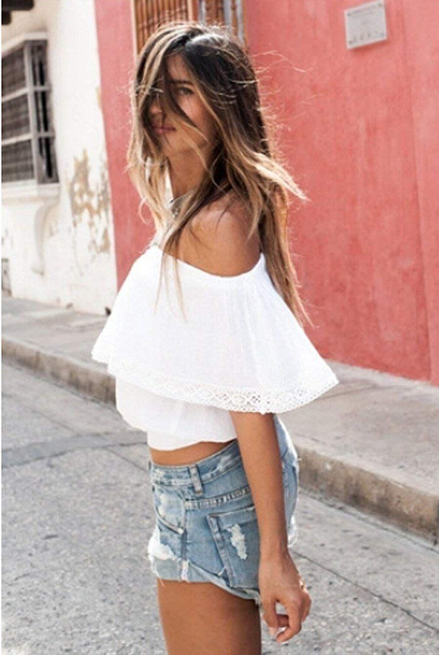 cfba147d4d92c  14.99 Relipop Women s Short Sleeve Shirt Strapless Blouses Off Shoulder  Tops at Amazon Women s Clothing store