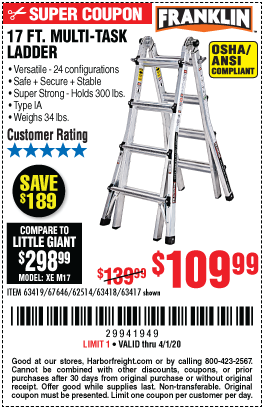 Franklin 17 Ft Type Ia Multi Task Ladder For 109 99 In 2020 Harbor Freight Tools Multi Tasking Ladder