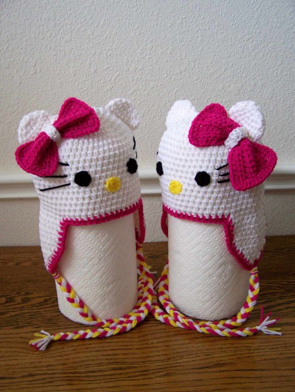 Crochet Hello Kitty Hats | gorros | Pinterest | Handarbeiten