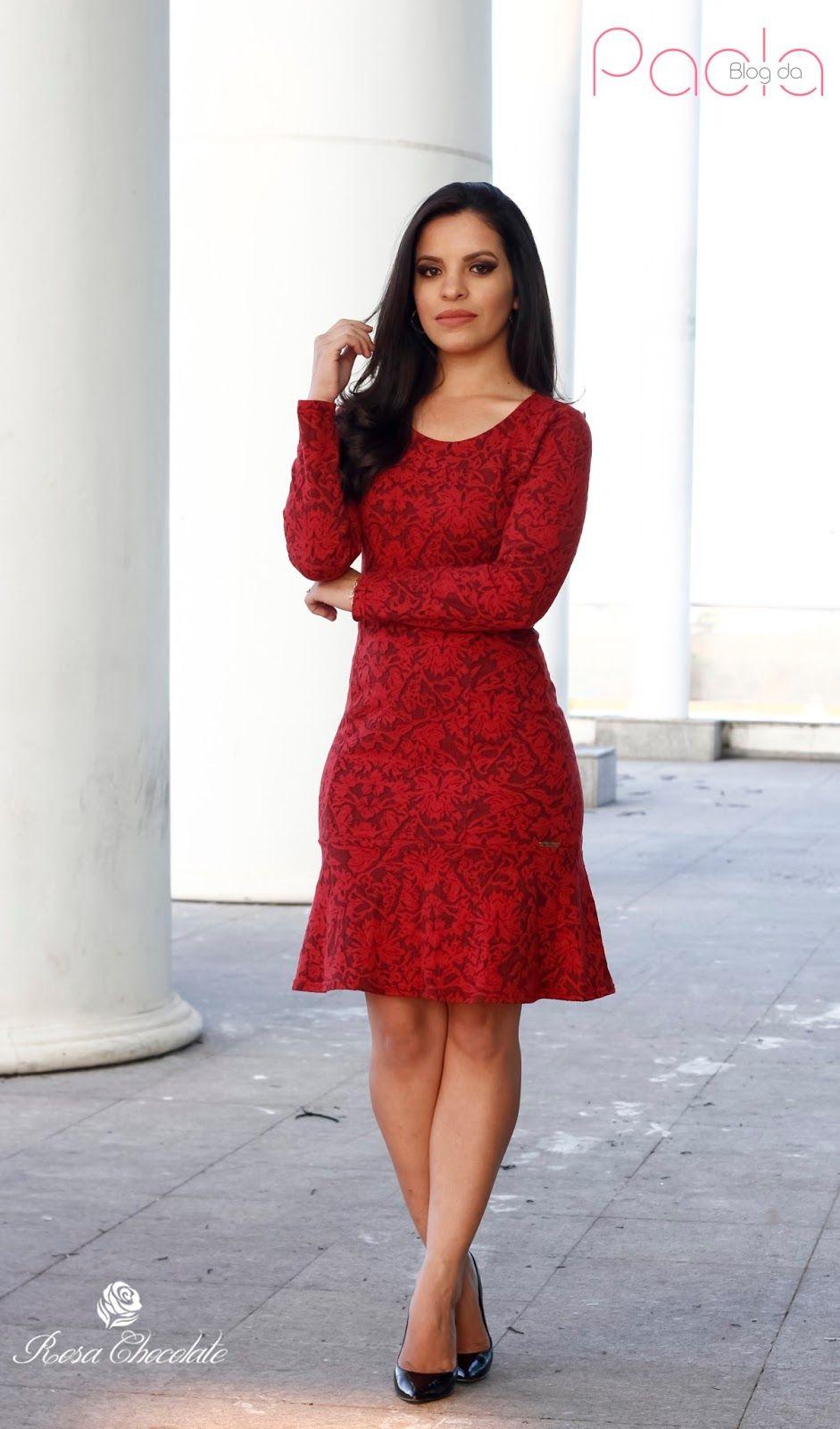 7934f76ff Blog da Paola  Look do Dia  Vestido Marsala – Rosa Chocolate