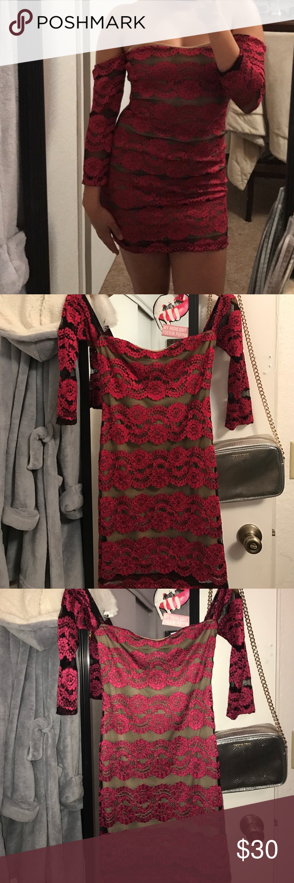 Very pretty lace dress off the shoulders Lace print. Dresses Mini
