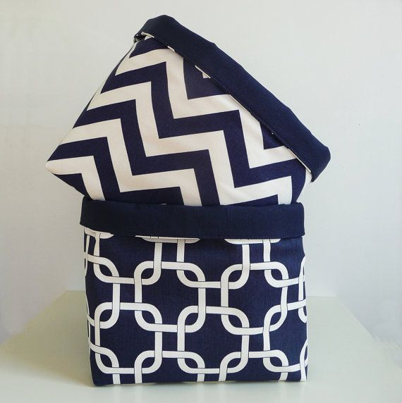 Marvelous Extra Large Storage Basket Fabric Organizer In Navy Blue And White Chevron  Zig Zag With Navy Blue Canvas Liner   10 X 10 X 10