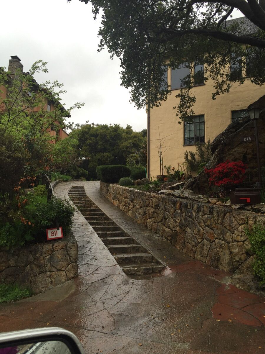 This Steep Driveway In San Francisco Has Stairs Running Up The Middle Steep Gardens Steep Hillside Landscaping Driveway
