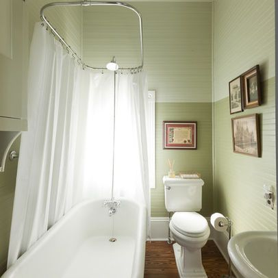 Small Bath Layout With Claw Foot Tub, Rectangle Shower Curtain All Around
