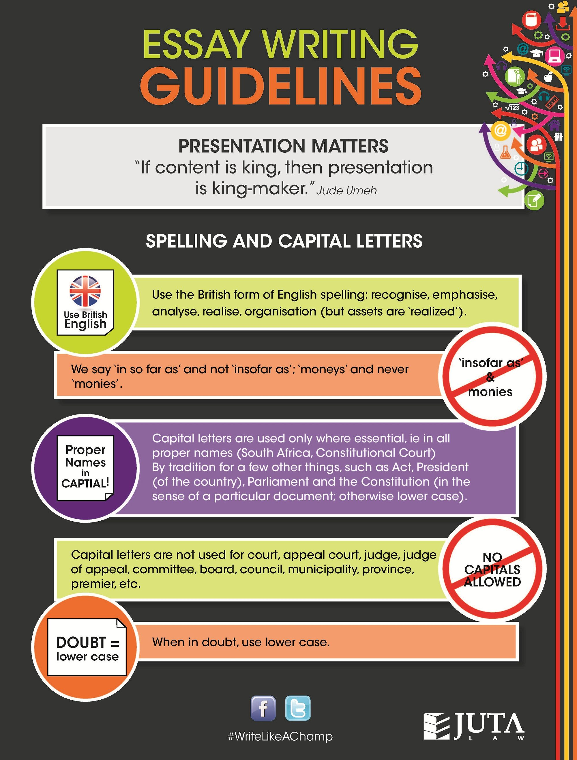 Infographic on spelling and capital letters guidelines