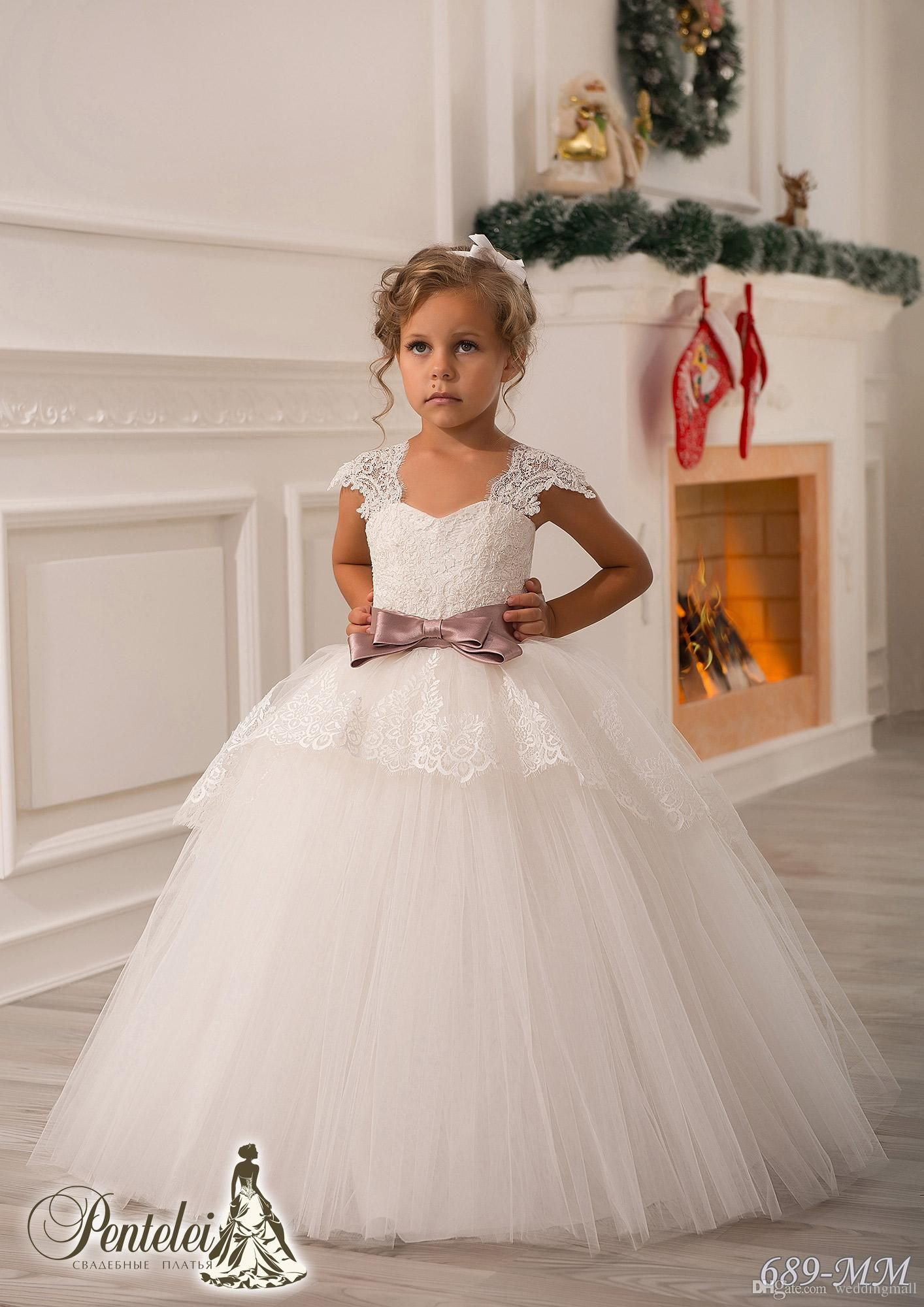 Lace dress for baby girl  Off Shoulder Lace Sash Ball Gown Net Baby Girl Birthday Party