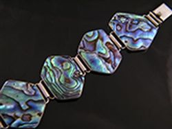 Paua .925 sterling silver hexagon shape bracelet