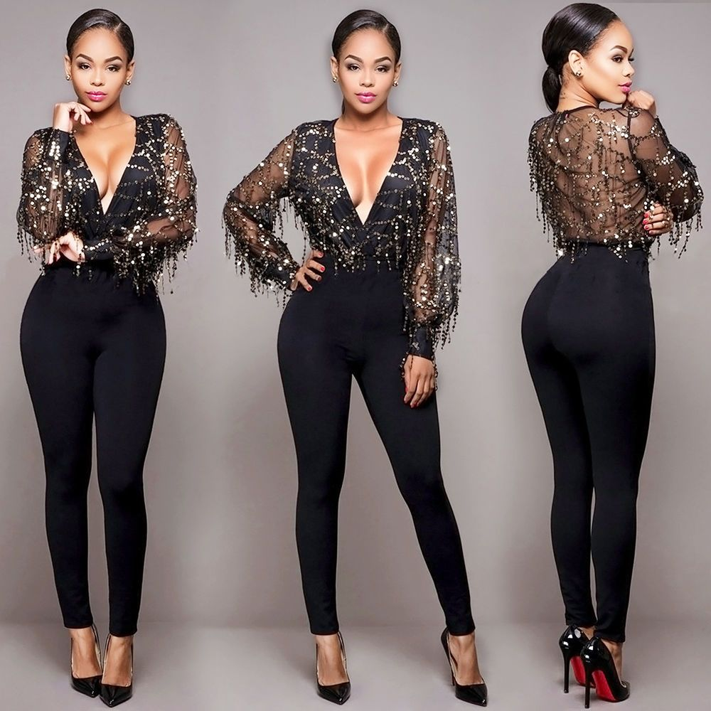 6e6ff3cee905 Women Clubwear V Neck Sequin Playsuit Bodycon Party Jumpsuit Romper  Trousers
