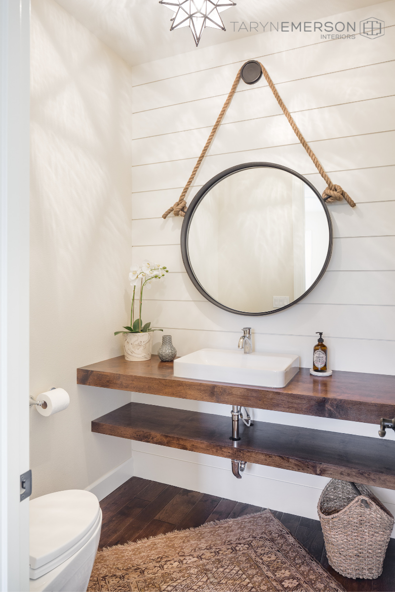 This Modern Farmhouse Bathroom Decor Uses A Gorgeous Wooden Sink