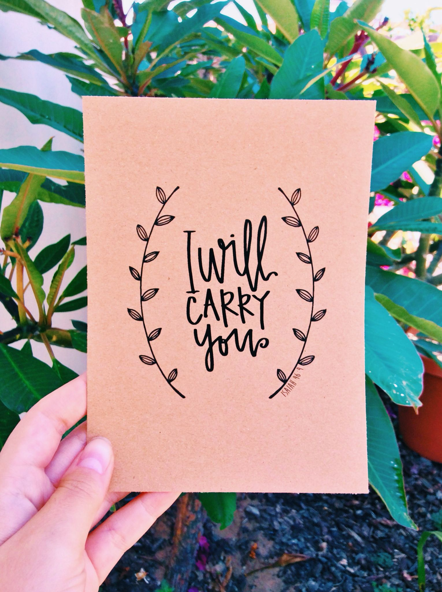 I Will Carry You - Isaiah 46:4 Print - Kraft Paper Vintage ...
