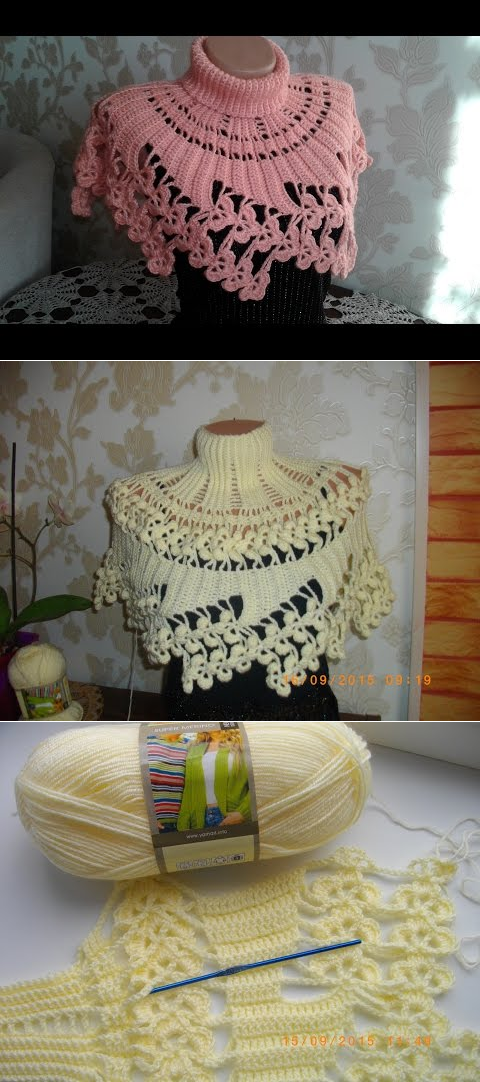 Манишка (накидка) крючком. Часть 2. Crochet Poncho, Cape. - YouTube