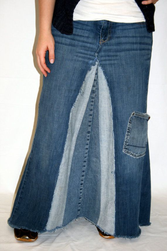 1a49eed82f Distressed Long Denim Skirt with Extra Pocket made from recycled ...