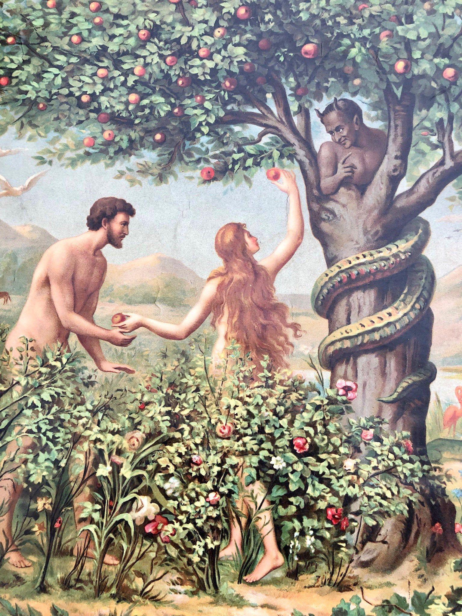 Antique 1860-80 Ecclesiastical Bible Study Chart, Adam, Eve, Satan, Grim  Reaper by OldBeaverAntiques on Etsy https://ww… | Biblical art, Adam and eve,  Spiritual art