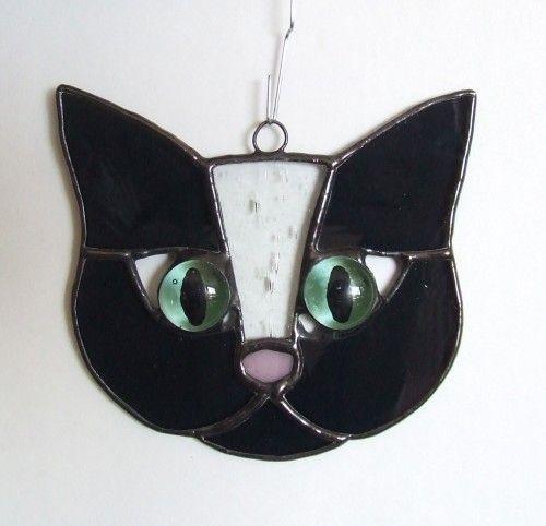 BlackGray  White Stained Glass Cat   LadybugStainedGlass - Glass on ArtFire