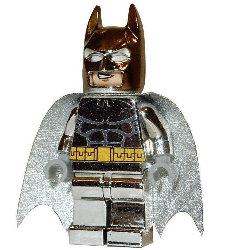 Details About New Lego Custom Printed Chrome Silver Batman