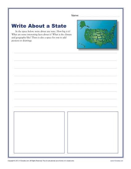 Write About A State Poporri Pinterest Writing Worksheets