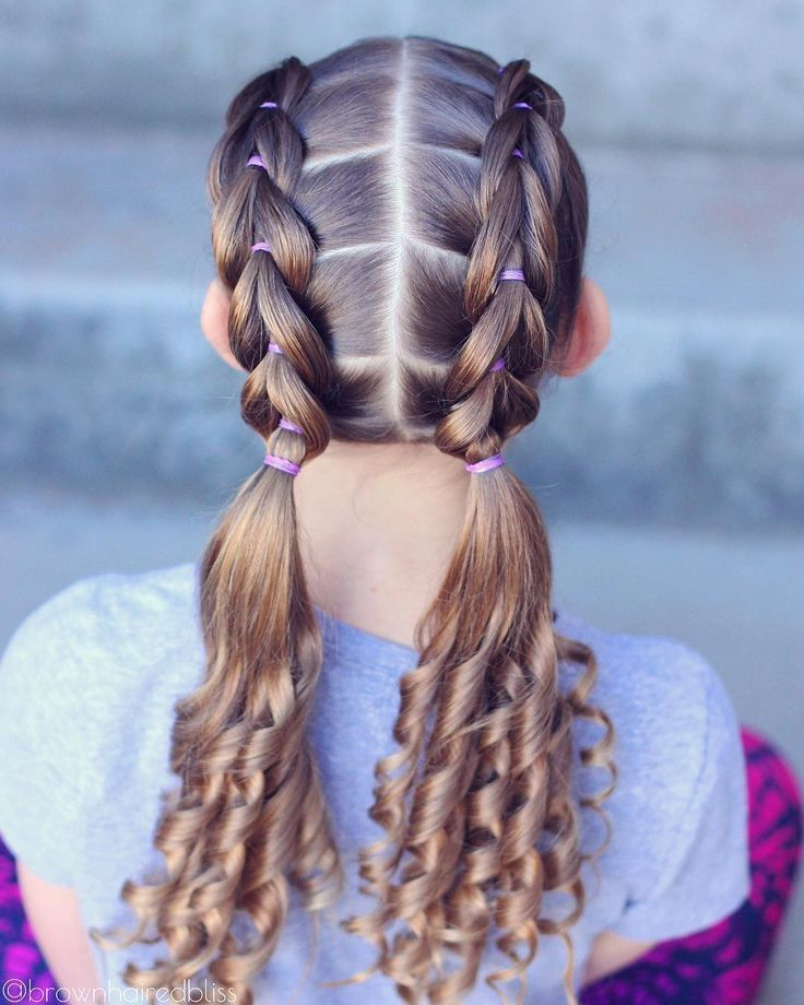 Front Pull Through Braids We Blew Out Her Hair Today And It Looked So Smooth And Silky Love This Style A Kids Braided Hairstyles Hair Styles Girl Hair Dos
